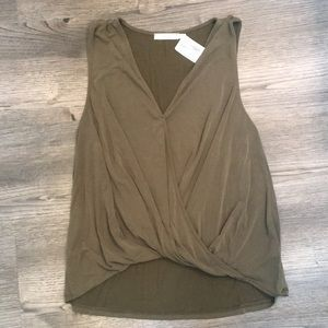 NWT Lush Olive Green Crossover Sleeveless Blouse